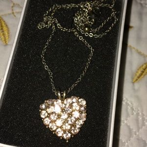 Heart shaped necklace with rose gold CZ stones